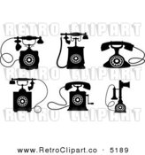 Vector Retro Clipart of Black and White Desk Telephones by Seamartini Graphics