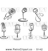 Vector Retro Clipart of Black and White Microphones by Seamartini Graphics Media