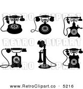 Vector Retro Clipart of Black and White Vintage Desk Phones by Seamartini Graphics