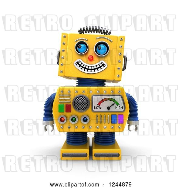 Clip Art of Retro 3d Grinning Yellow Robot Looking up