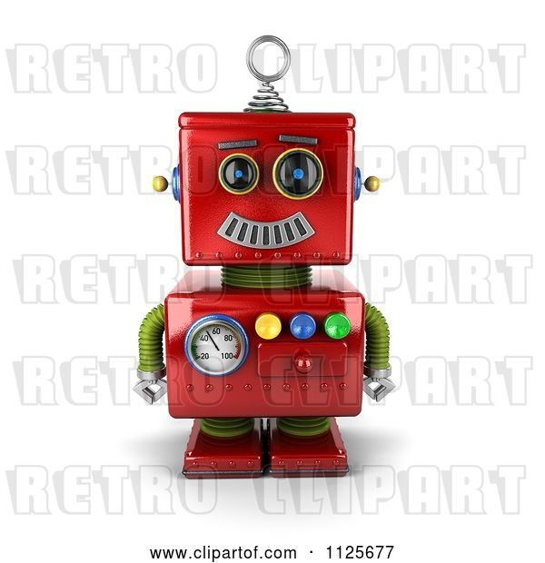 Clip Art of Retro 3d Happy Red Robot Smiling