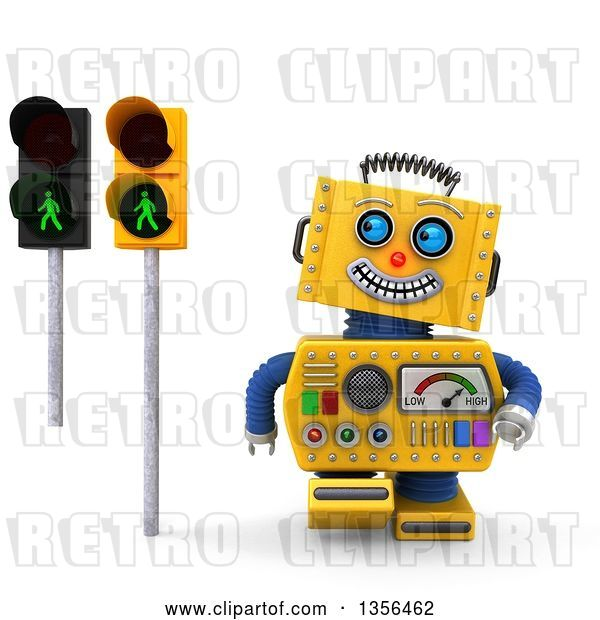 Clip Art of Retro 3d Happy Yellow Robot Glancing at Green Pedestrian Traffic Lights, on a White Background