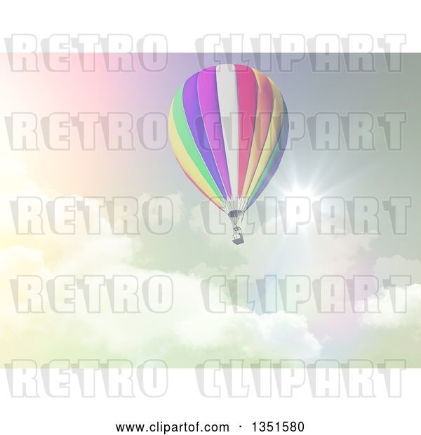 Clip Art of Retro 3d Hot Air Balloon Against a Cloudy Sky and Sunburst in Tones