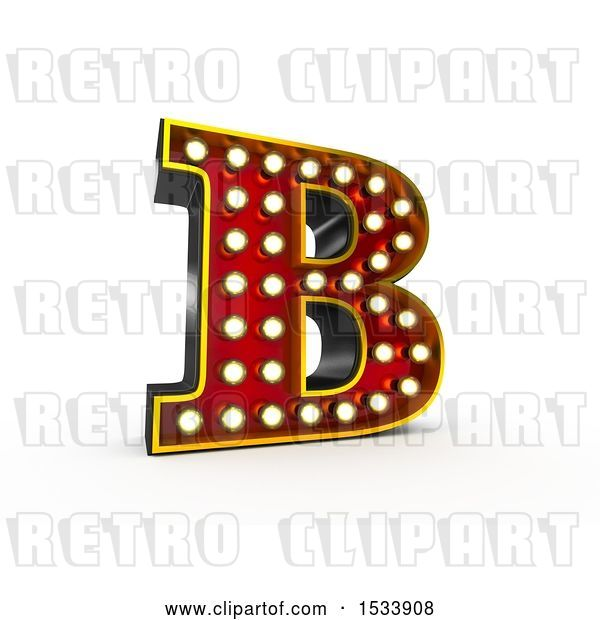 Clip Art of Retro 3d Illuminated Theater Styled Letter B, on a White Background
