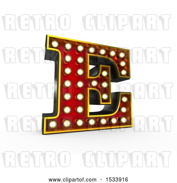 Clip Art of Retro 3d Illuminated Theater Styled Letter E, on a White Background