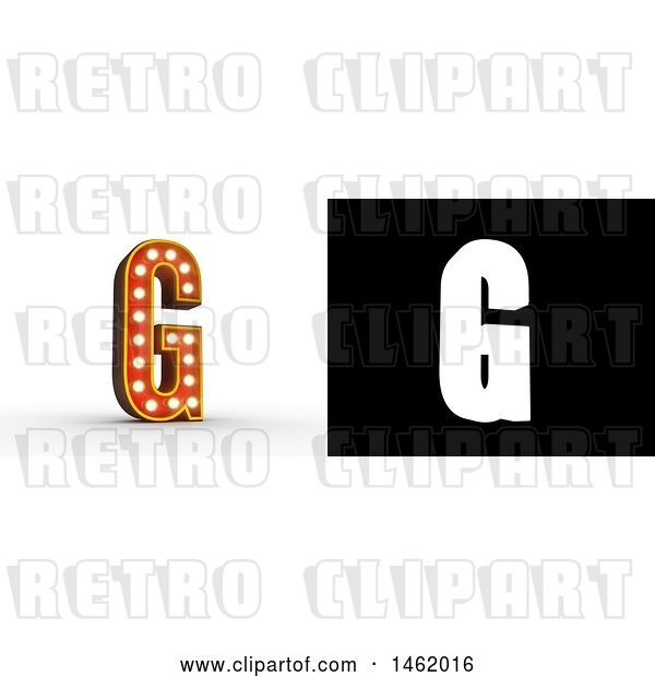 Clip Art of Retro 3d Illuminated Theater Styled Letter G, with Alpha Map for Isolation