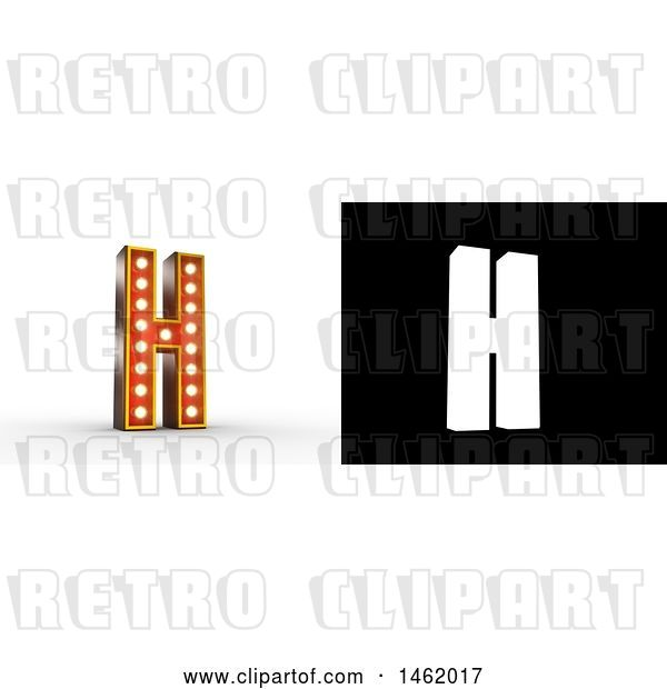 Clip Art of Retro 3d Illuminated Theater Styled Letter H, with Alpha Map for Isolation