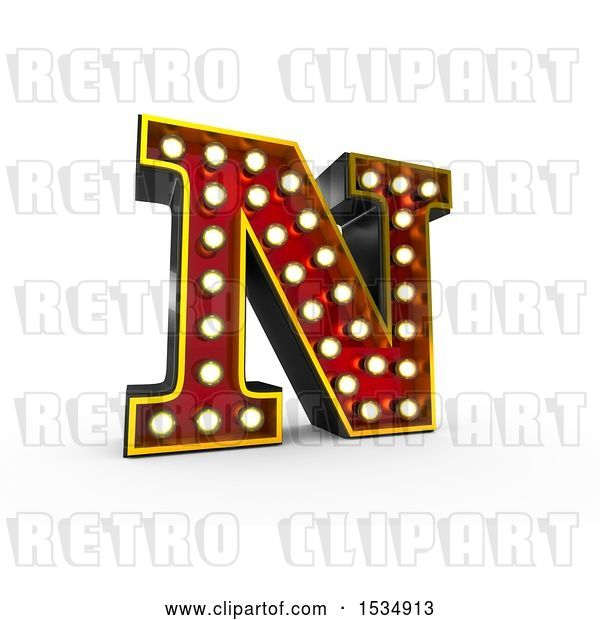 Clip Art of Retro 3d Illuminated Theater Styled Letter N, on a White Background