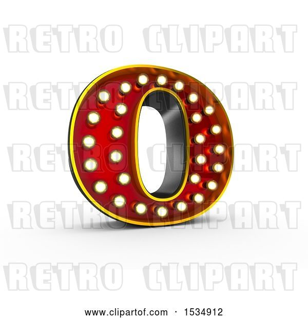 Clip Art of Retro 3d Illuminated Theater Styled Letter O, on a White Background