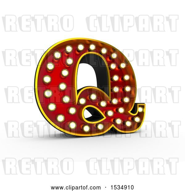 Clip Art of Retro 3d Illuminated Theater Styled Letter Q, on a White Background