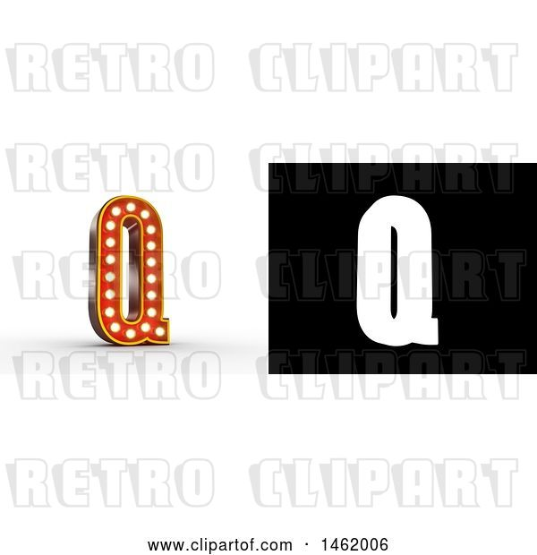 Clip Art of Retro 3d Illuminated Theater Styled Letter Q, with Alpha Map for Isolation