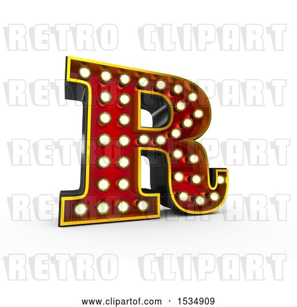 Clip Art of Retro 3d Illuminated Theater Styled Letter R, on a White Background