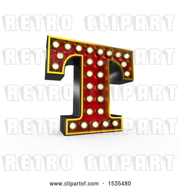 Clip Art of Retro 3d Illuminated Theater Styled Letter T, on a White Background