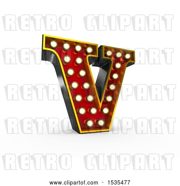 Clip Art of Retro 3d Illuminated Theater Styled Letter V, on a White Background