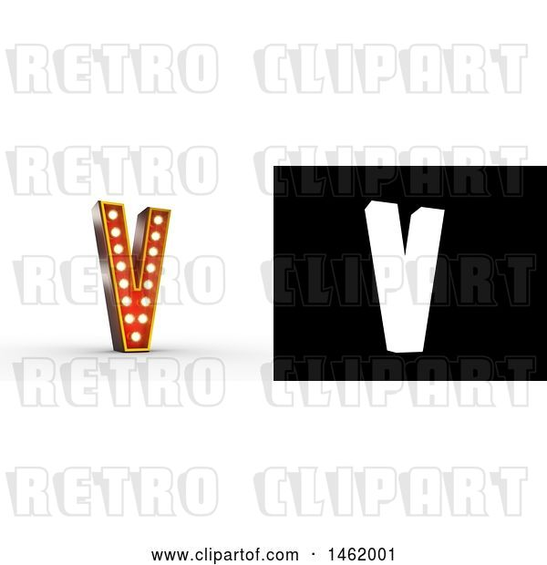 Clip Art of Retro 3d Illuminated Theater Styled Letter V, with Alpha Map for Isolation