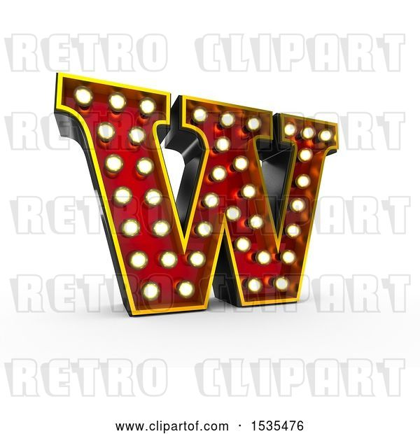 Clip Art of Retro 3d Illuminated Theater Styled Letter W, on a White Background