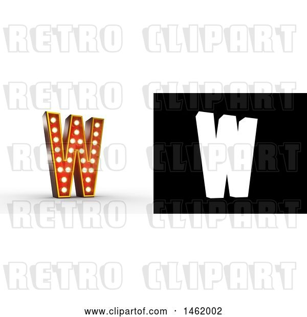 Clip Art of Retro 3d Illuminated Theater Styled Letter W, with Alpha Map for Isolation