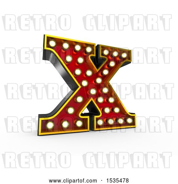 Clip Art of Retro 3d Illuminated Theater Styled Letter X, on a White Background