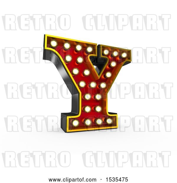 Clip Art of Retro 3d Illuminated Theater Styled Letter Y, on a White Background