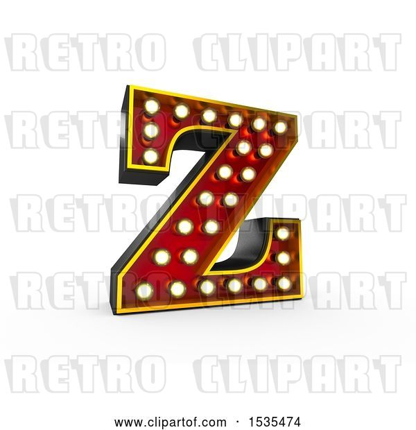 Clip Art of Retro 3d Illuminated Theater Styled Letter Z, on a White Background