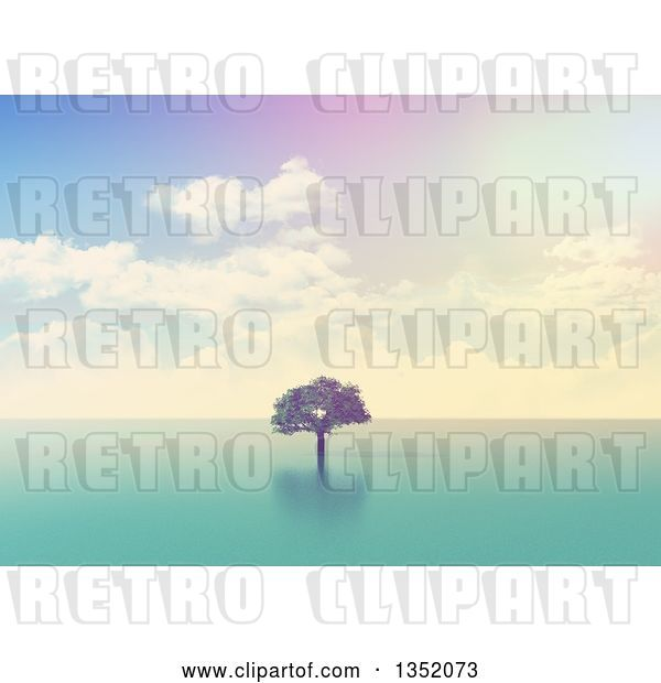 Clip Art of Retro 3d Lone Tree out in the Ocean, with Effect
