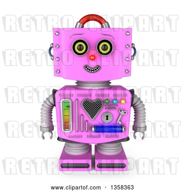 Clip Art of Retro 3d Pink Female Robot Smiling, on a White Background