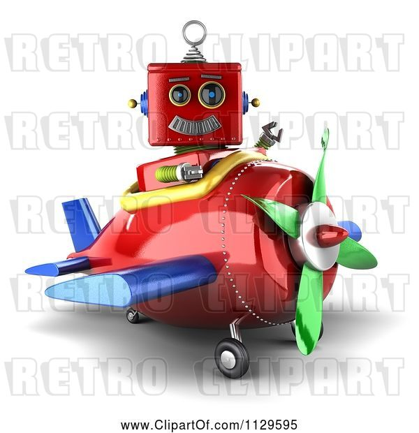 Clip Art of Retro 3d Red Robot Waving and Sitting in a Plane