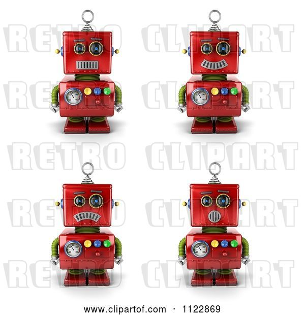 Clip Art of Retro 3d Red Robot with Different Emotional Expressions