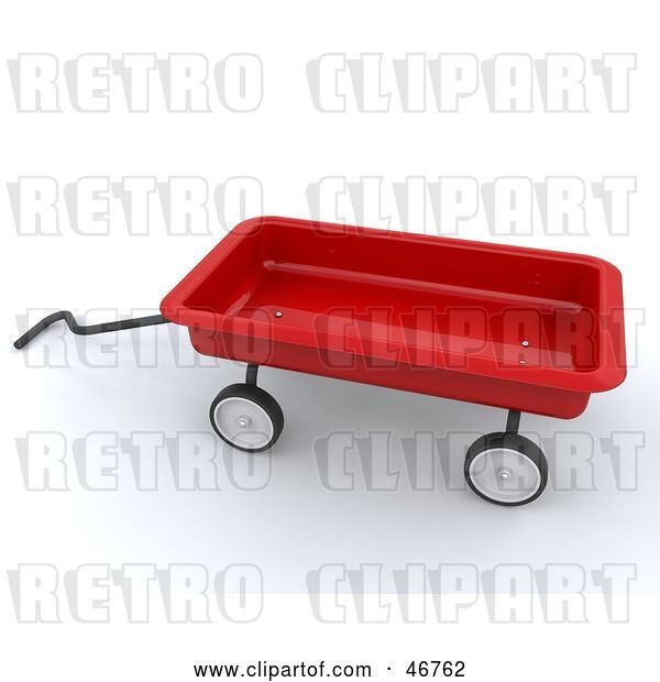 Clip Art of Retro 3d Red Toy Wagon with a Handle