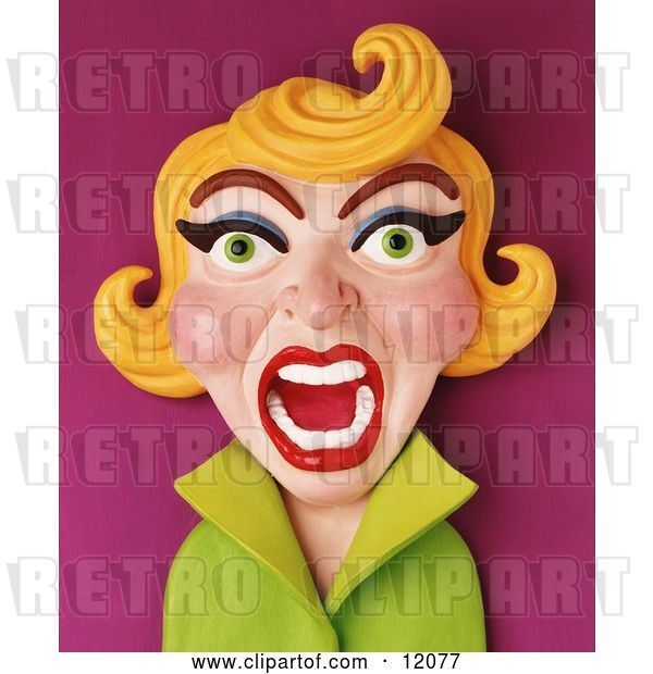 Clip Art of Retro 3d Screaming Blond Lady
