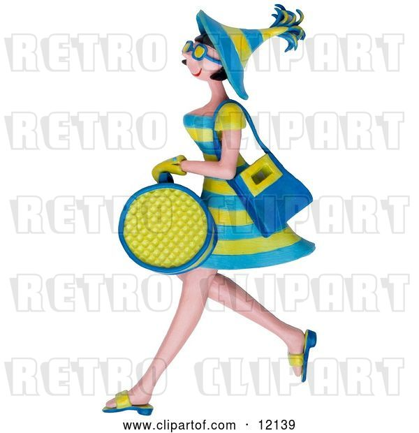 Clip Art of Retro 3d Shopping Lady Carrying Bags