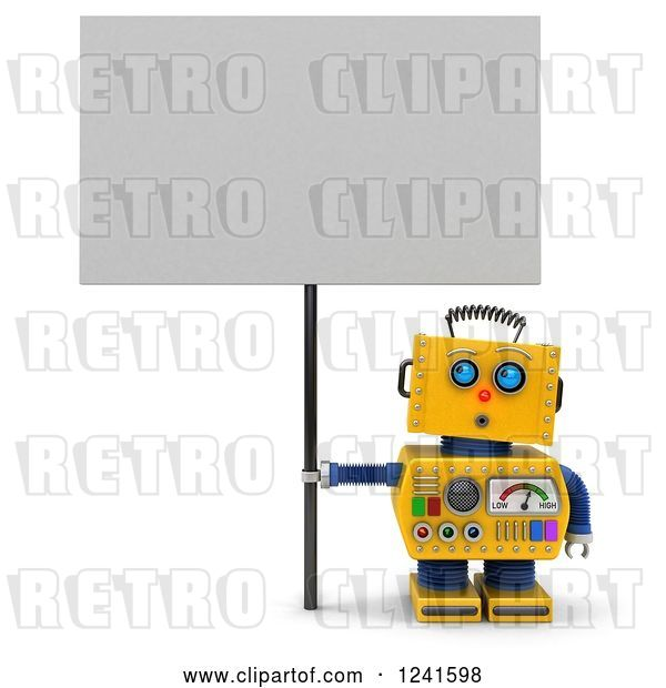 Clip Art of Retro 3d Surprised Yellow Robot Looking up and Holding a Sign