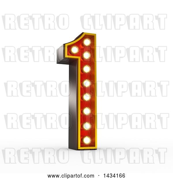 Clip Art of Retro 3d Theater Light Bulb Styled Number 1, on a White Background, with a Clipping Path