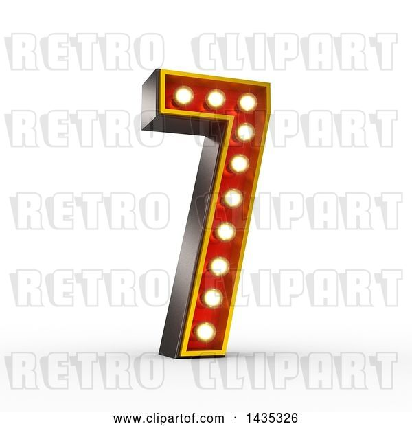 Clip Art of Retro 3d Theater Light Bulb Styled Number 7, on a White Background, with Clipping Path