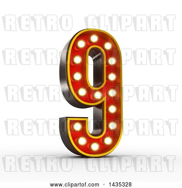 Clip Art of Retro 3d Theater Light Bulb Styled Number 9, on a White Background, with Clipping Path