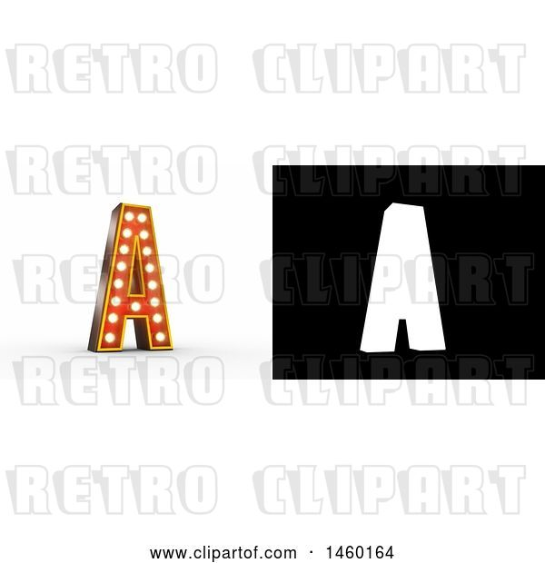 Clip Art of Retro 3D Theater Styled Letter a Design with Light Bulbs Illuminating It