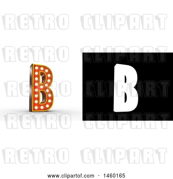 Clip Art of Retro 3D Theater Styled Letter B Design with Light Bulbs Illuminating It