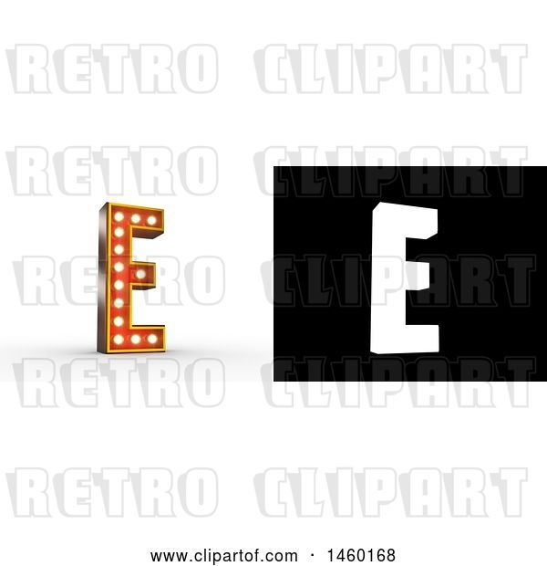 Clip Art of Retro 3D Theater Styled Letter E Design with Light Bulbs Illuminating It