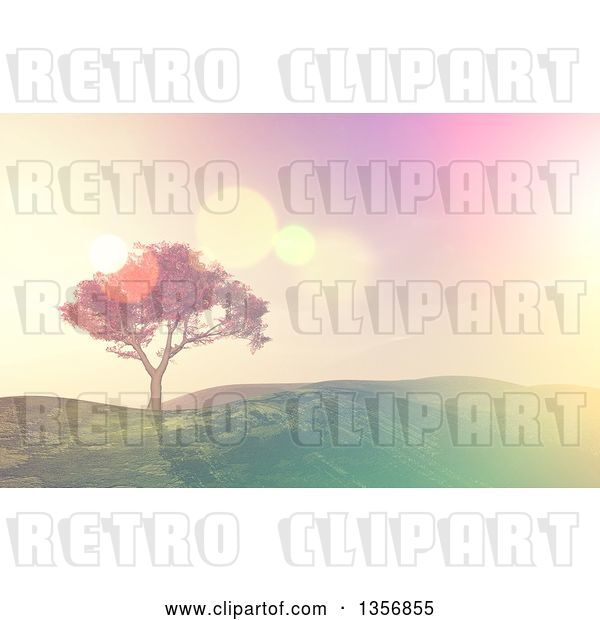 Clip Art of Retro 3d Tree on a Grassy Hill, with Flares