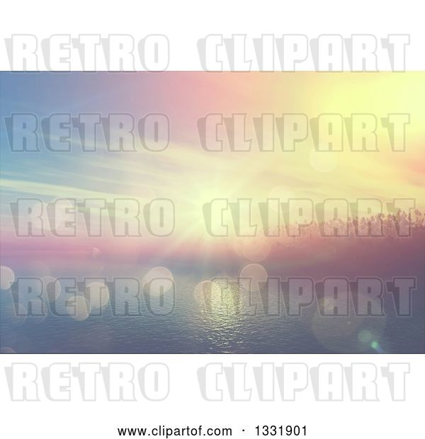 Clip Art of Retro 3d Tropical Island with Palm Trees and Fog at Sunset, with Flares