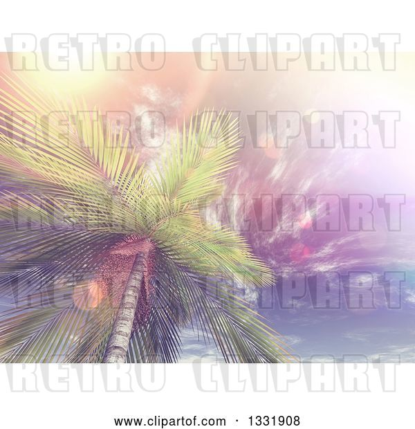 Clip Art of Retro 3d View Looking up at a Tropical Palm Tree Against Sky with Wispy Clouds and Flares