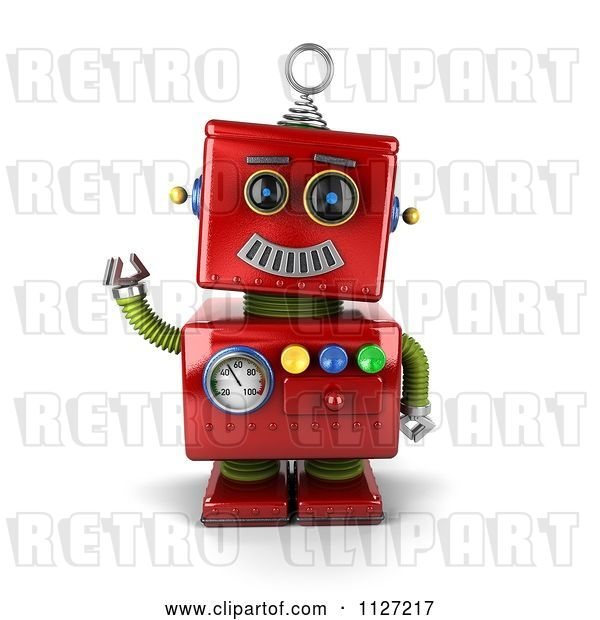Clip Art of Retro 3d Waving Red Metal Robot