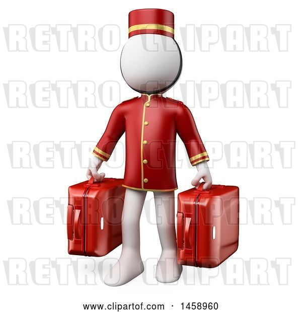 Clip Art of Retro 3d White Guy Bellhop Holding Suitcases, on a White Background