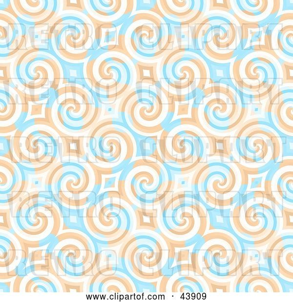 Clip Art of Retro Background of Blue and Orange Swirls and Diamonds