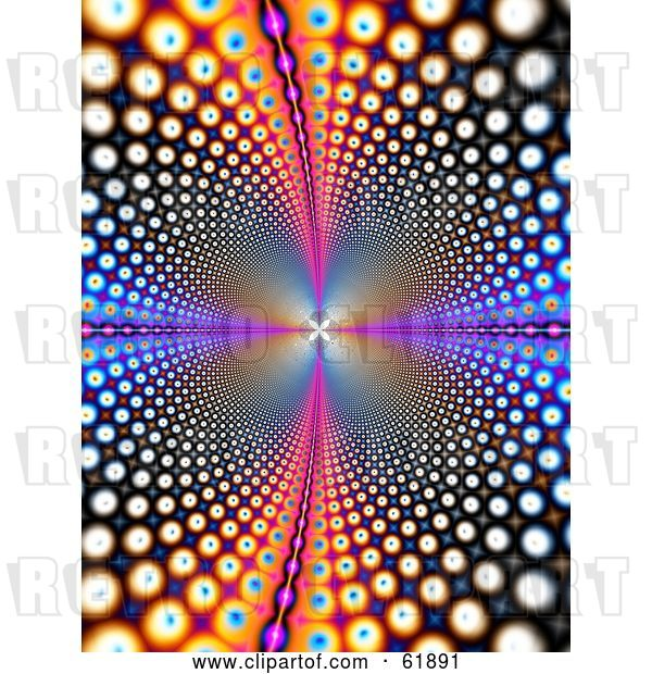 Clip Art of Retro Background of Psychedelic Colorful Circles Leading and Reflecting into the Distance