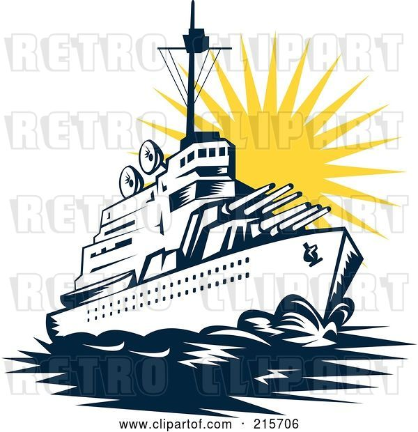 Clip Art of Retro Battleship at Sunset