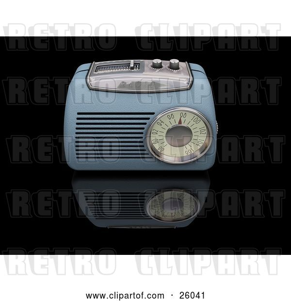 Clip Art of Retro Blue Radio with a Station Tuner, on a Reflective Black Surface