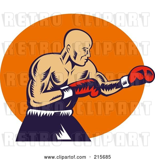 Clip Art of Retro Boxer Throwing Jabs
