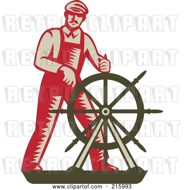 Clip Art of Retro Captain Steering a Helm