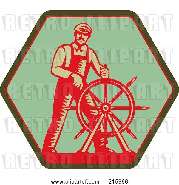 Clip Art of Retro Captain Steering a Helm on a Green Sign